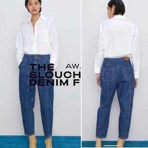 Zara Z1975 Slouchy Darted Blue Jeans - 6 NEW
